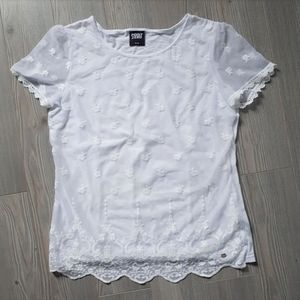POINT ZERO CRISP WHITE DELICATE LACE TEE